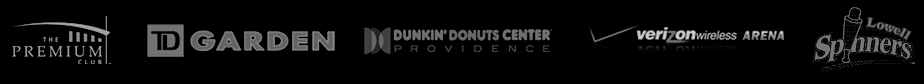 logos from TD Garden, Lowell Spinners, Dunkin' Donuts Center and other organizations that A-Executive Limo partners with