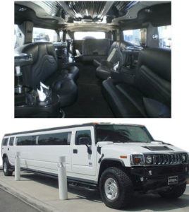 Interior and exterior view of a Hummer limo
