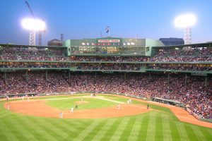 Night view of Fenway Park in Boston MA