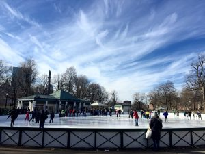 The frog pond at Boston Common turned into an ice skating rink for the winter months